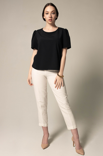 Round neck blouse - black - Le Réussi