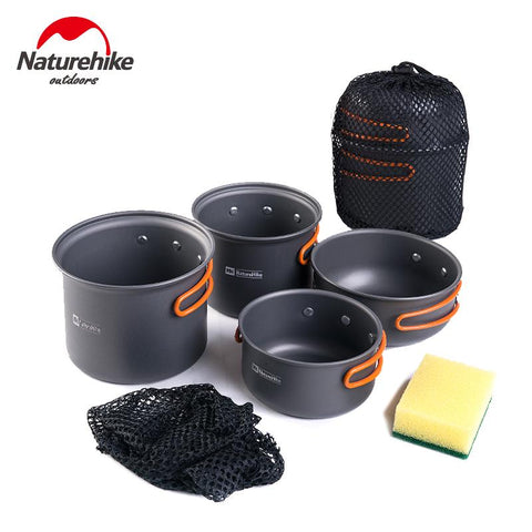 Ultralight Outdoor Camping Cookware Utensils Four Combination Cookware Tableware For Picnic Bowl Pot Pan Set - Peak Gear Co