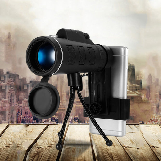 40X60 Monocular Telescope Zoom Scope with Compass Phone Clip Tripod for Mobile Phone Camera - Peak Gear Co