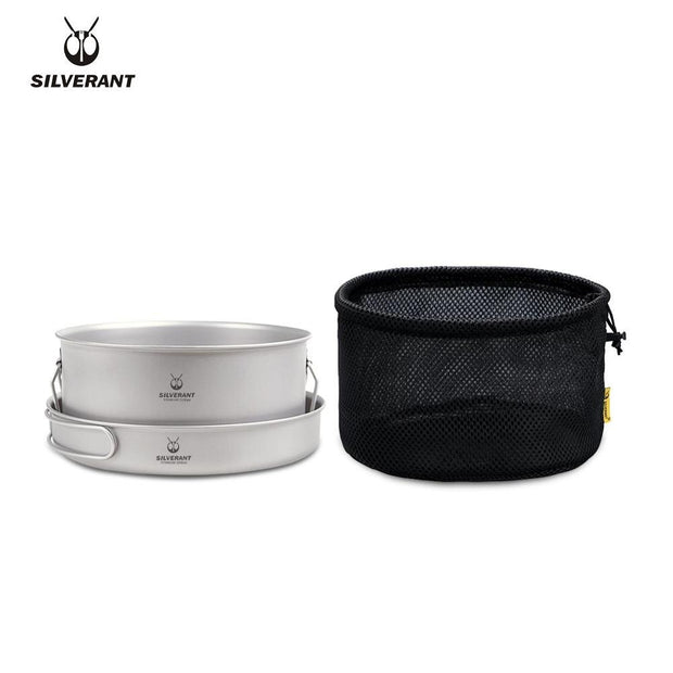 Silver Titanium Pot and Frying Pan Combo - Peak Gear Co