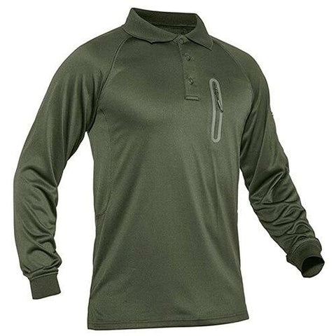 Men Polo Shirt Performance Tactical Long Sleeve Quick Dry - Peak Gear Co