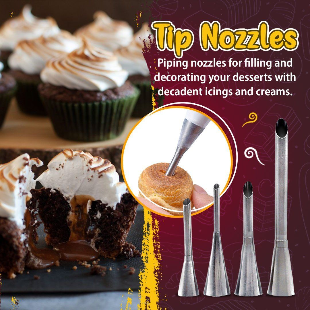 4pcs Cream Piping Tip Nozzles Kit