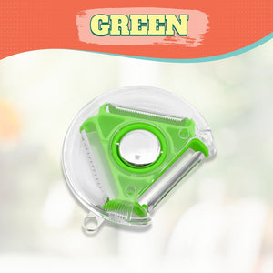 Compact 4-in-1 Tri-Blade Rotary Peeler