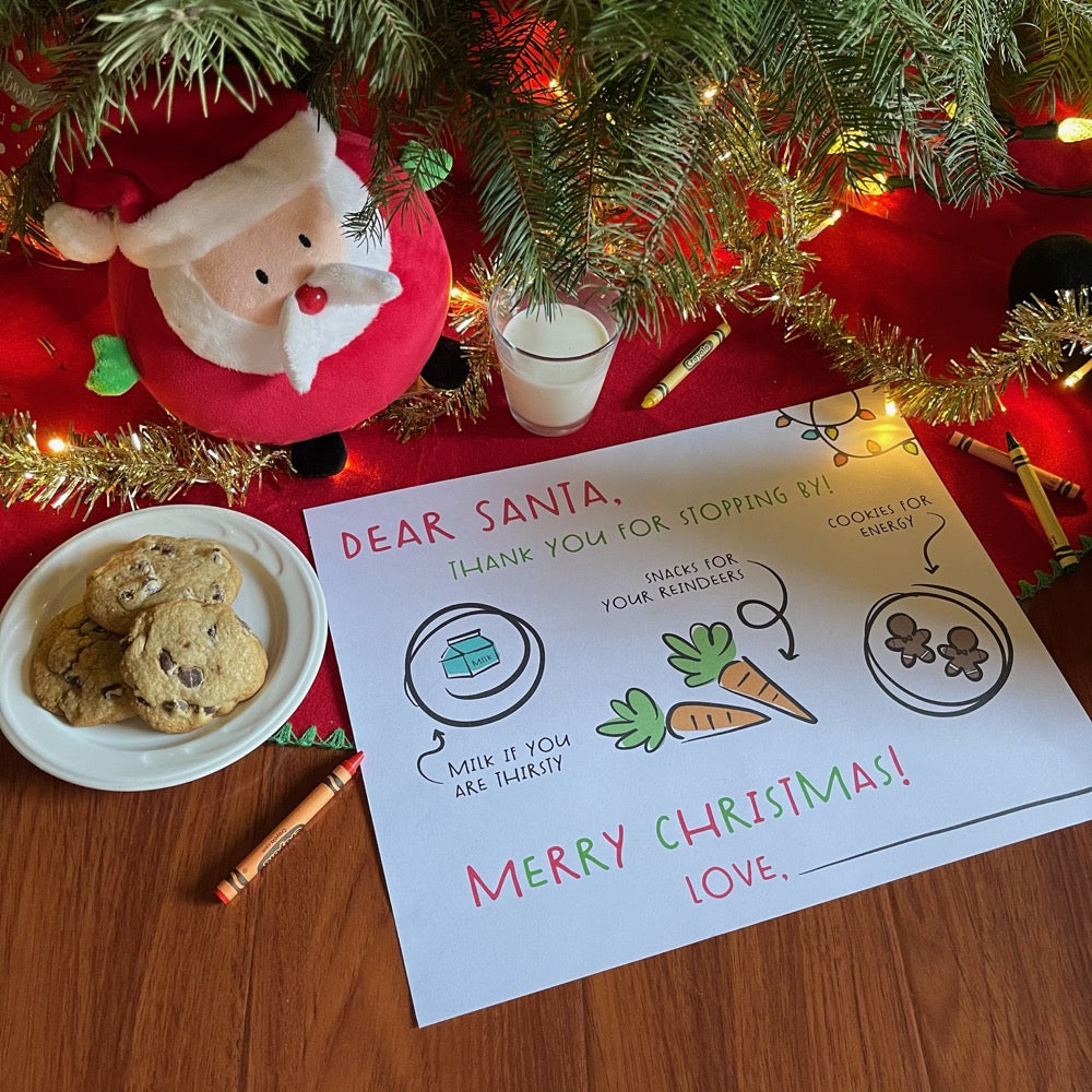 Dear Santa Placemat Tray for Milk and Cookies and Carrots