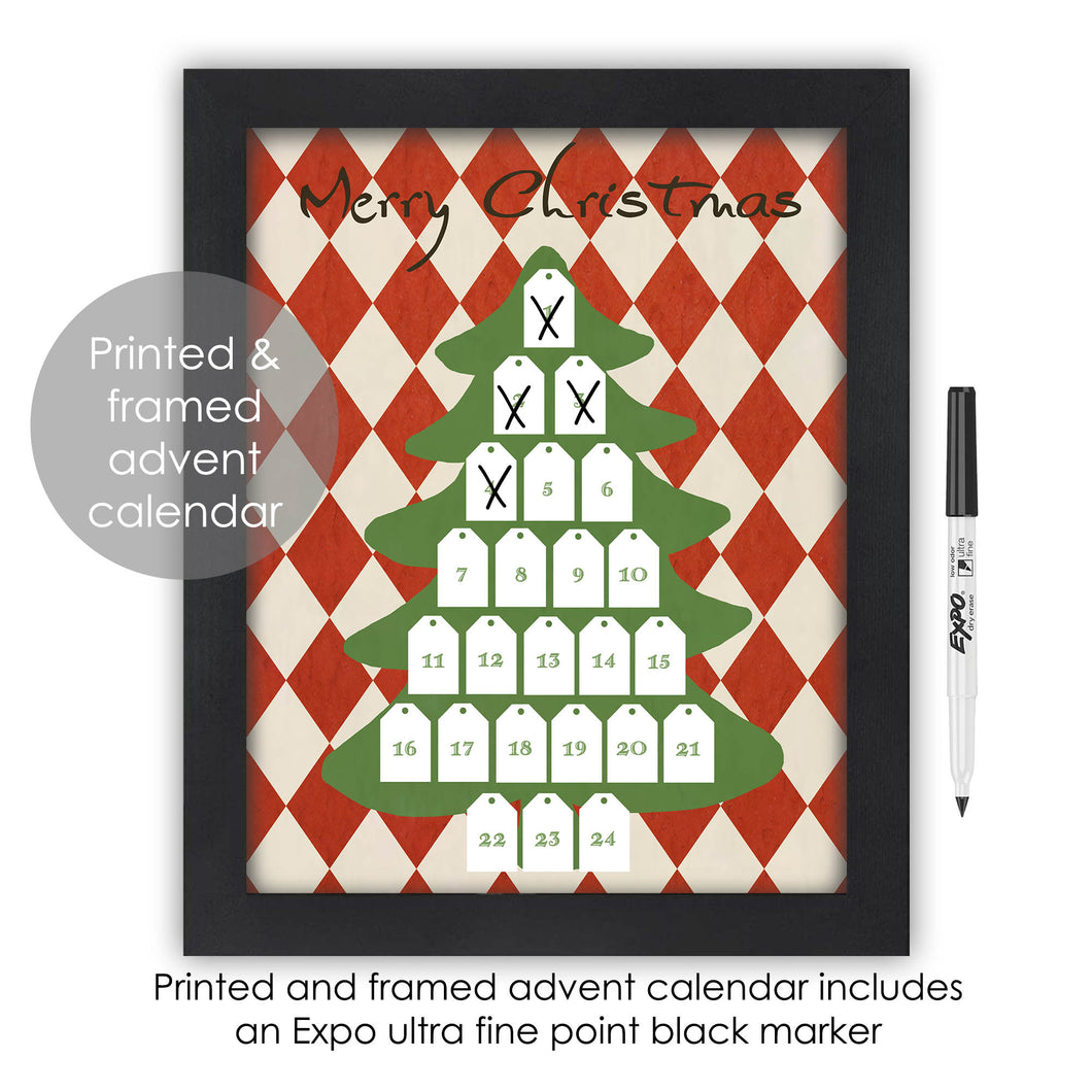 Christmas Tree Advent Calendar Countdown Dry Erase Framed Wall Art