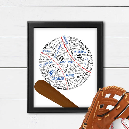 baseball art print with team names