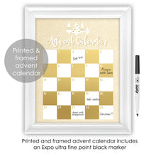 Load image into Gallery viewer, Gold and White Modern Christmas Tree Advent Calendar Framed Art