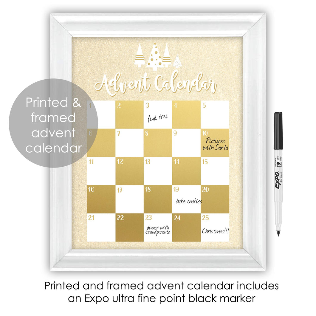 Gold and White Modern Christmas Tree Advent Calendar Framed Wall Decor