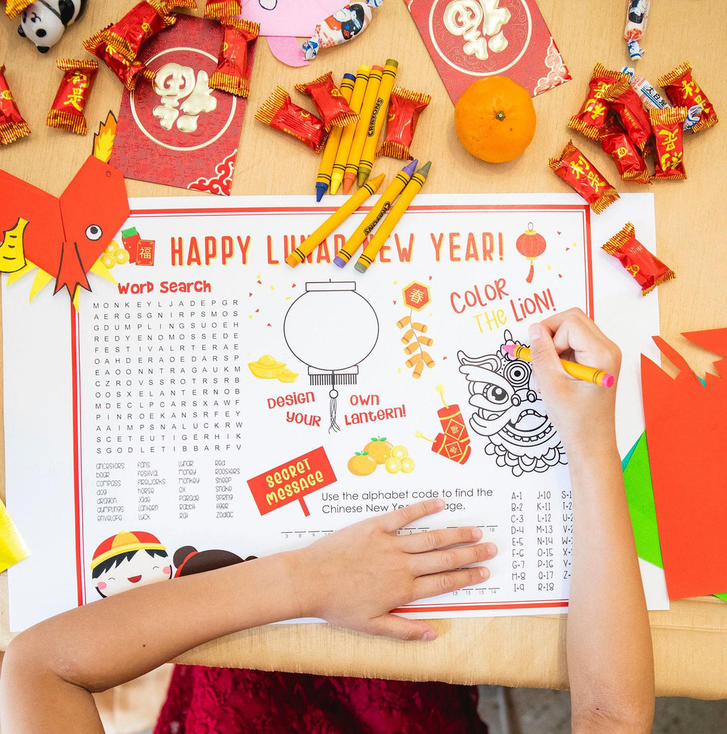 Lunar New Year Kids Placemat Activities