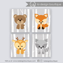 Load image into Gallery viewer, Woodland Animals Nursery Art Prints