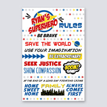 Load image into Gallery viewer, superhero rules sign