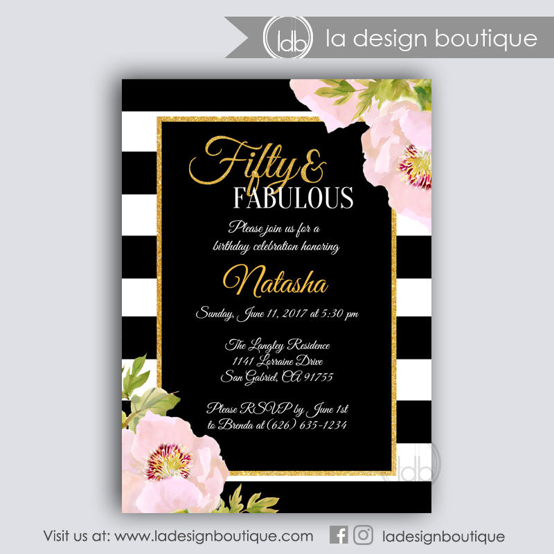 50 and Fabulous Black and Gold Birthday Invitation