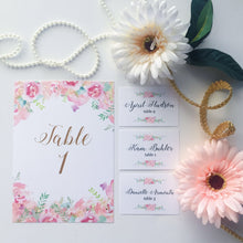 Load image into Gallery viewer, Watercolor Floral Pink Table Number Cards