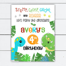 Load image into Gallery viewer, Dinosaur Birthday Party Welcome Sign