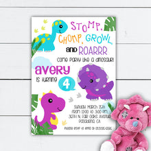 Load image into Gallery viewer, Girl Dinosaur Birthday Invitation