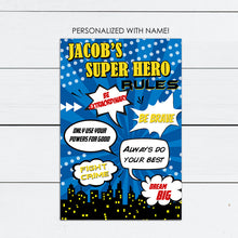 Load image into Gallery viewer, personalized super hero rules bedroom wall art