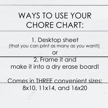 Load image into Gallery viewer, Kids Chore Chart Dry Erase Printable for Command Center