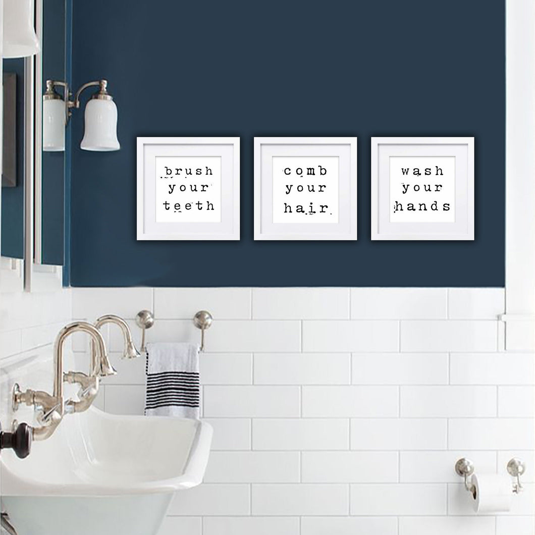 Modern Farmhouse Bathroom Sign Set of 3 Wash Brush Comb