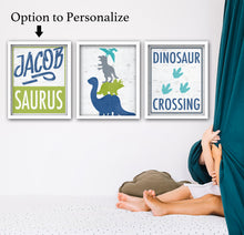 Load image into Gallery viewer, personalized dinosaur art