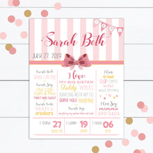 Load image into Gallery viewer, 1st Birthday Girl Invitation with Pink Bow