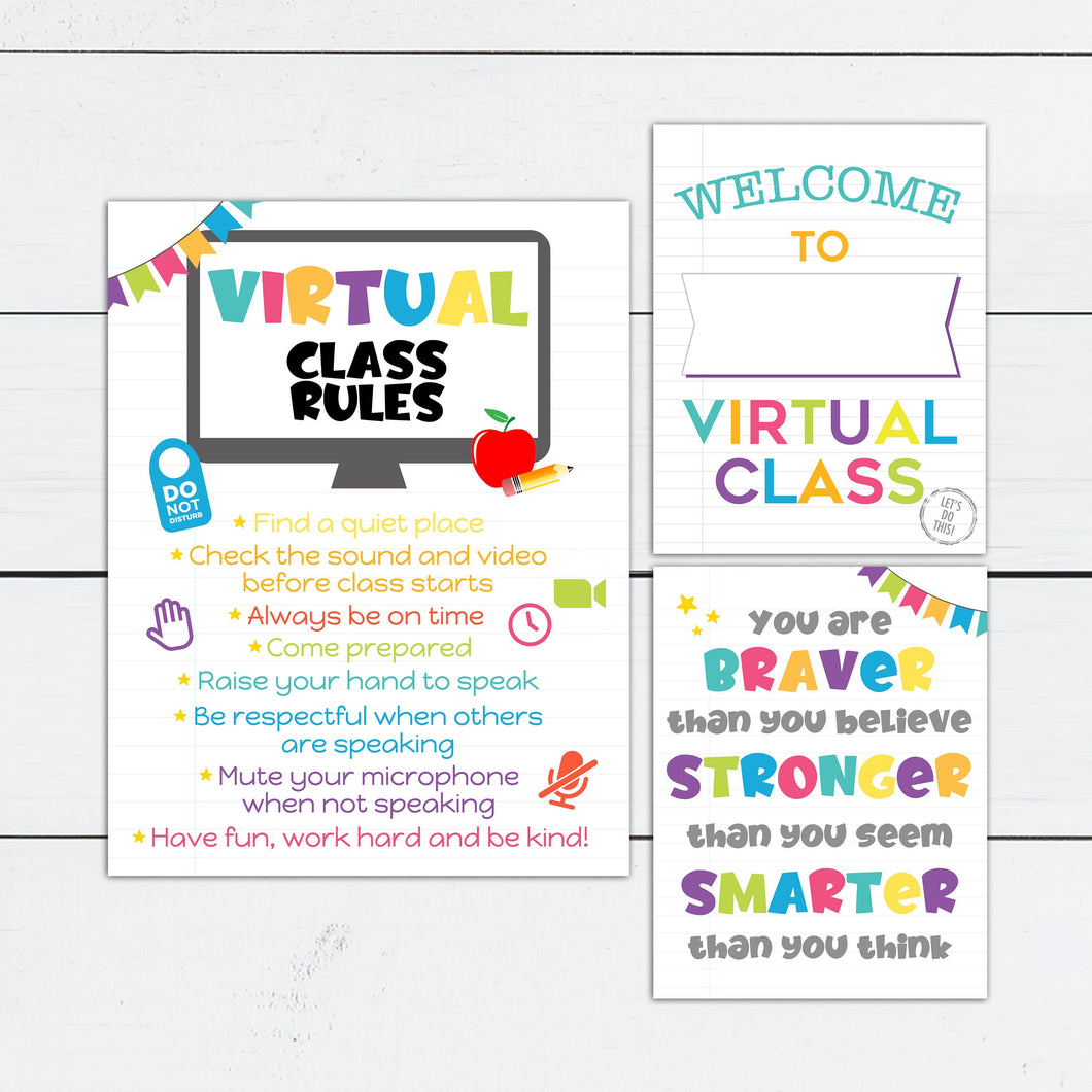 Virtual Class Rules Sign for Zoom Class and Distance Learning