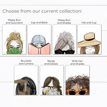 Load image into Gallery viewer, Messy Bun Girl with Sunglasses Art Print