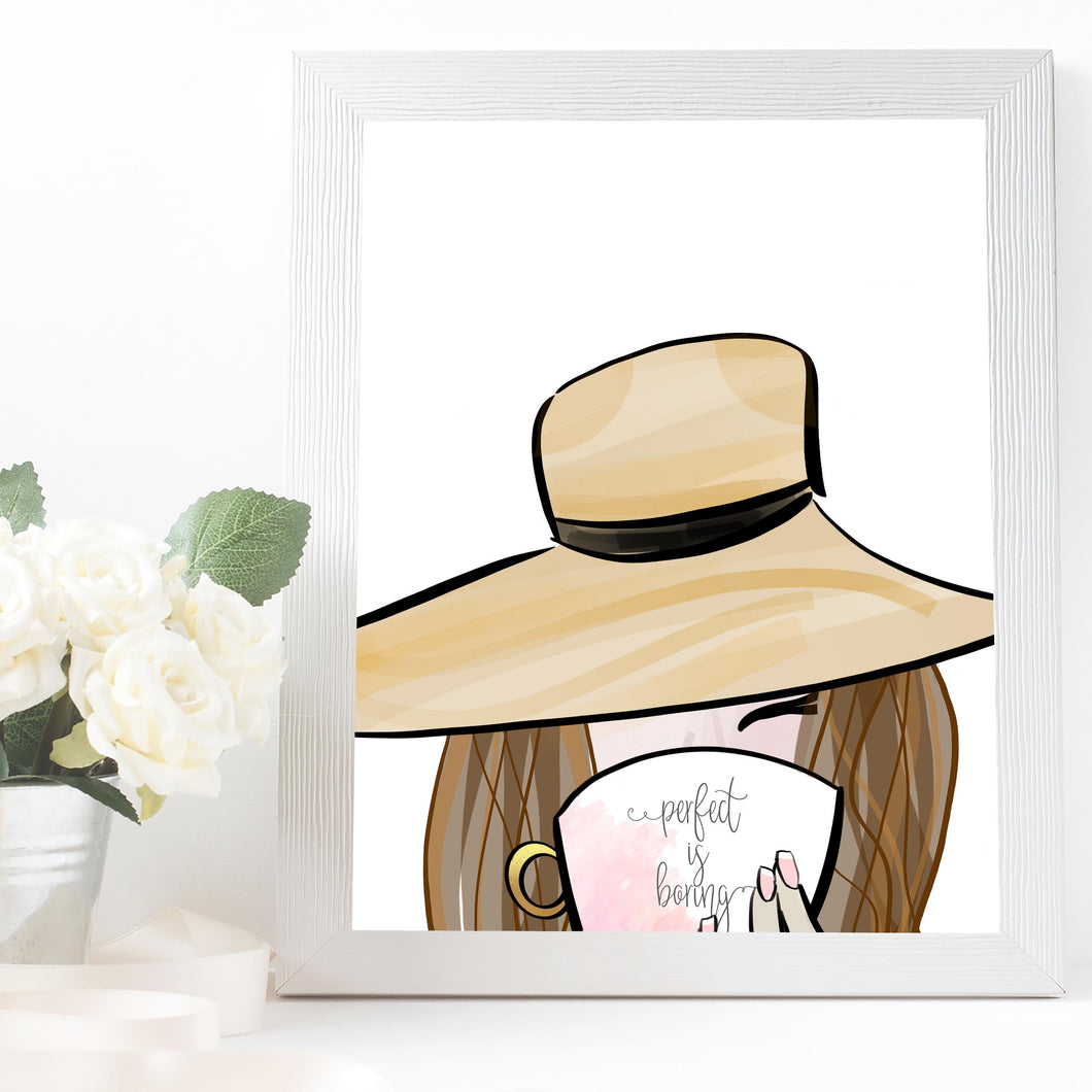 girl with sun hat art