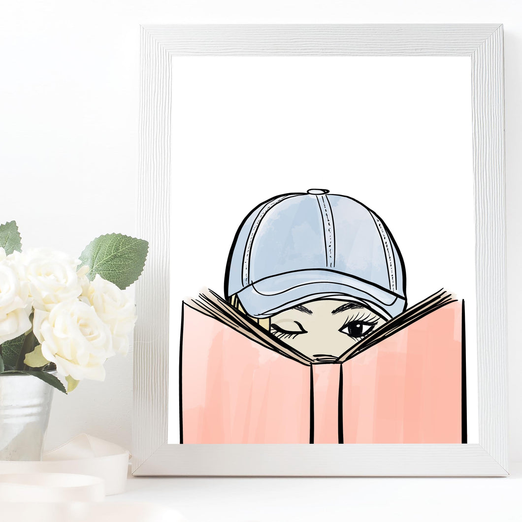 bookworm baseball cap girl art
