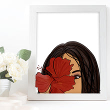 Load image into Gallery viewer, girl with hibiscus flower
