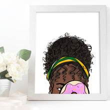 Load image into Gallery viewer, black woman art with donut