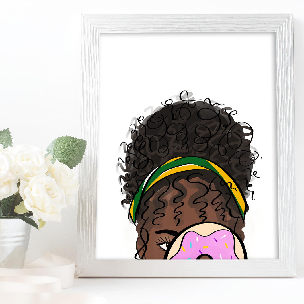 black woman art with donut