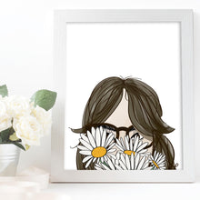 Load image into Gallery viewer, girl with bangs glasses and daisies