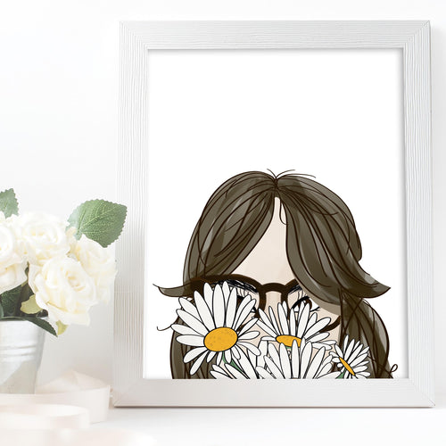 girl with bangs glasses and daisies