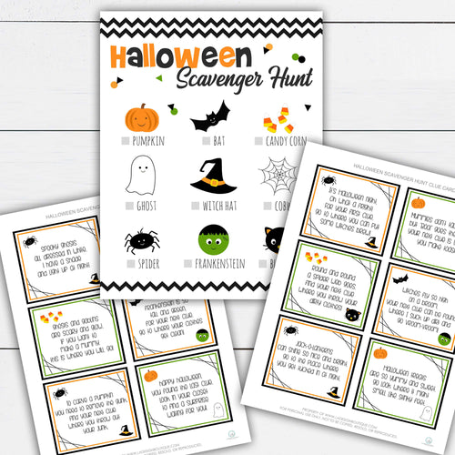 Halloween Scavenger Hunt, Halloween Scavenger Hunt For Kids, Halloween Scavenger Hunt Printable, Clue Cards, Trick or Treat, Treasure Hunt