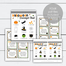 Load image into Gallery viewer, Halloween Scavenger Hunt, Halloween Scavenger Hunt For Kids, Halloween Scavenger Hunt Printable, Clue Cards, Trick or Treat, Treasure Hunt