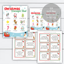 Load image into Gallery viewer, Christmas Scavenger Hunt, Christmas Scavenger Hunt Clues, Christmas Scavenger Hunt Printable, Holiday Activities, Holiday Activity Printable