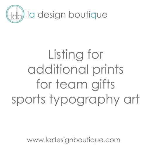 Personalized Sports Typography Art - Additional Prints for Team Gift