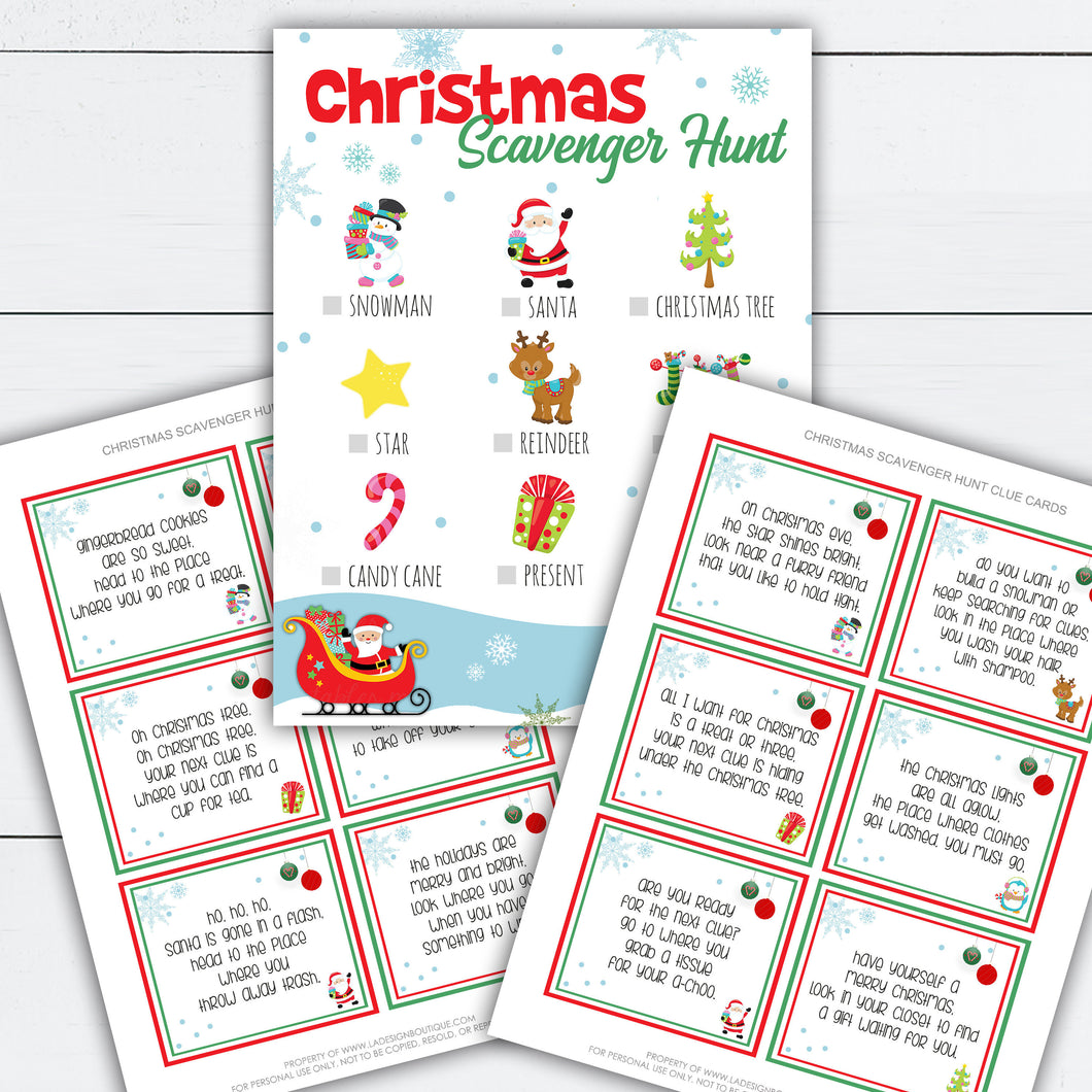 Christmas Scavenger Hunt, Christmas Scavenger Hunt Clues, Christmas Scavenger Hunt Printable, Holiday Activities, Holiday Activity Printable