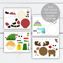 Load image into Gallery viewer, Christmas Activities for Kids, Christmas Cutouts, Holiday Activities for Kids, Paper Crafts Christmas, Printable Activities, Crafts for Kids