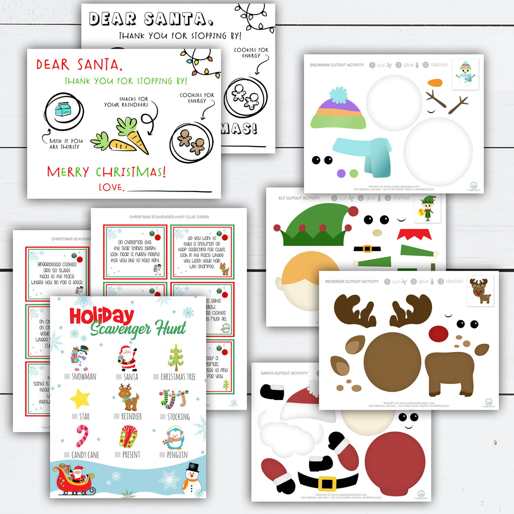 Christmas Activity for Kids, Christmas Activity Printable, Christmas Activity Kit, Activities for Kids, Dear Santa Tray, Scavenger Hunt