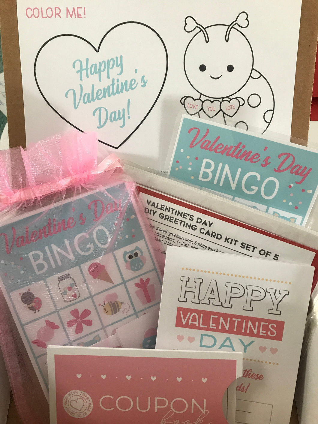 Valentines Day Kids Gifts, Valentines Day Kit, Valentines Day Kit for Kids, Greeting Card Kits, Bingo Game, Coupon Book, Gift for Kids