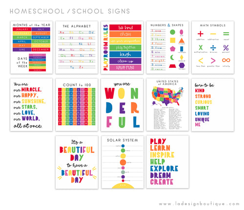 Homeschool Posters, Playroom Rules, Educational Prints, Preschool Signs, Classroom Signs, US Map, Alphabet, Solar System, Math, Numbers