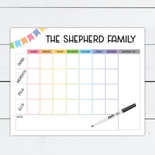 Load image into Gallery viewer, Family Planner, Family Planner Board, Family Planner Printable, Weekly Calendar, Dry Erase Board, Personalized Board, Organizer, Homework