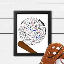 Load image into Gallery viewer, custom baseball gift personalized with name in frame