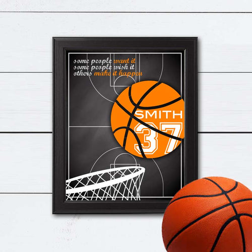 custom basketball art for team or coach gift