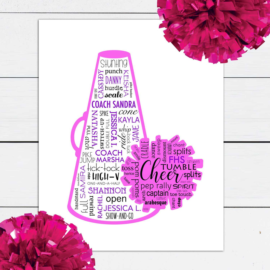 personalized cheer print with team names