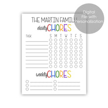 Load image into Gallery viewer, chore chart printable