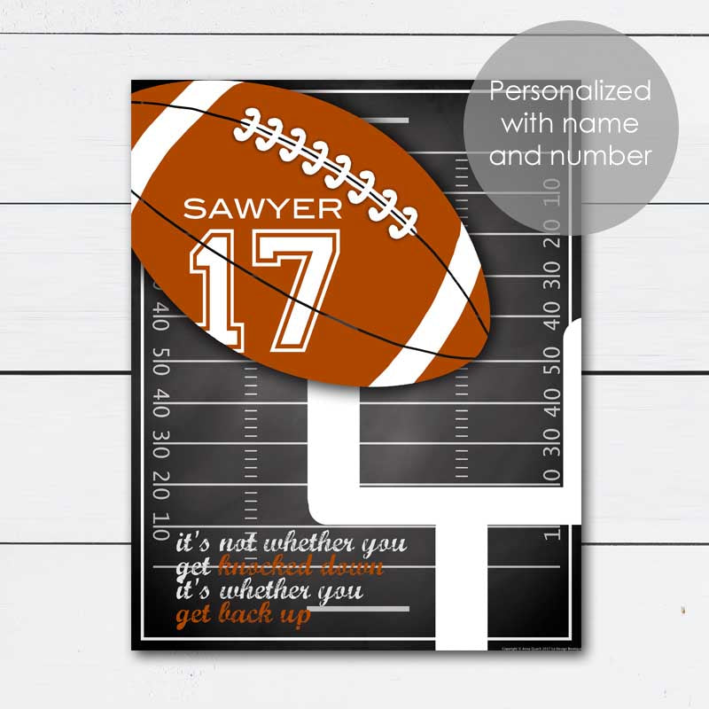 Personalized Football Art Gift with Player Name and Number