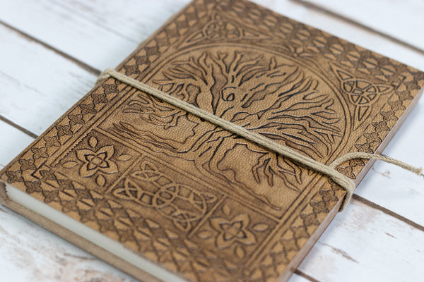 Tree Of Life Handmade Leather Journal - Tan