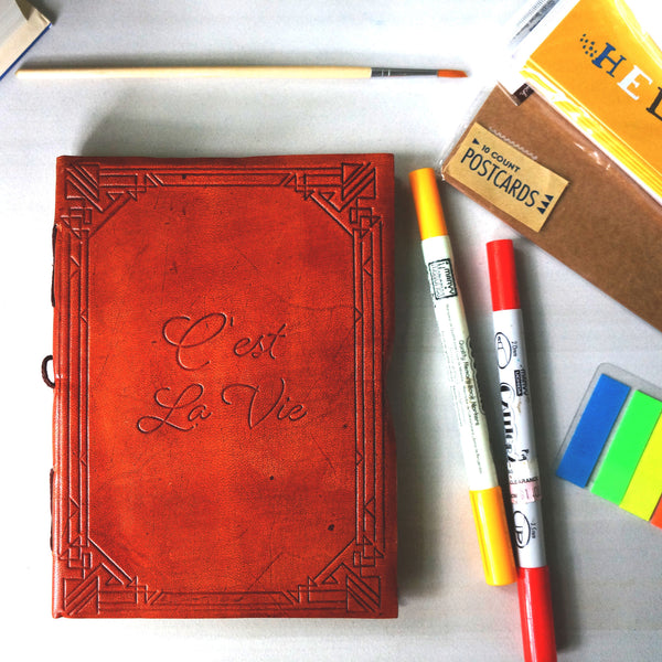 """C'est La Vie"" Handmade Leather Journal - Soothi 